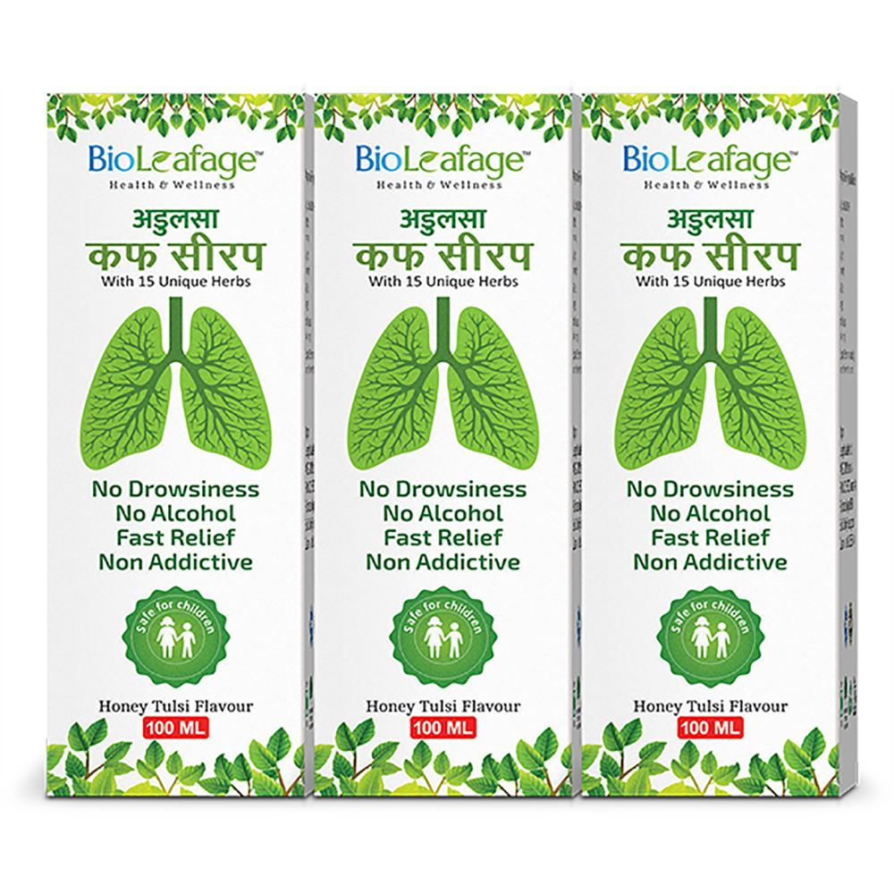 Bioleafage Adulsa Cough Syrup (100ml, Pack of 3)