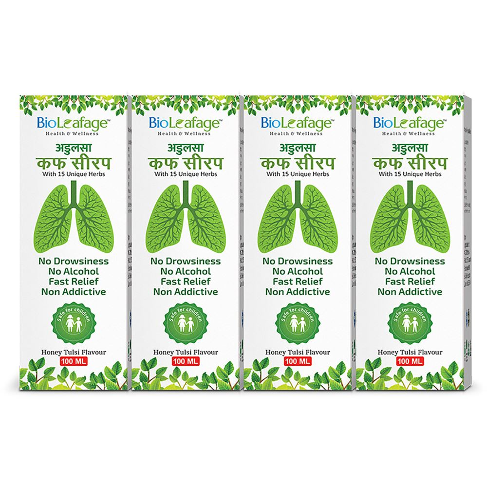 Bioleafage Adulsa Cough Syrup (100ml, Pack of 4)