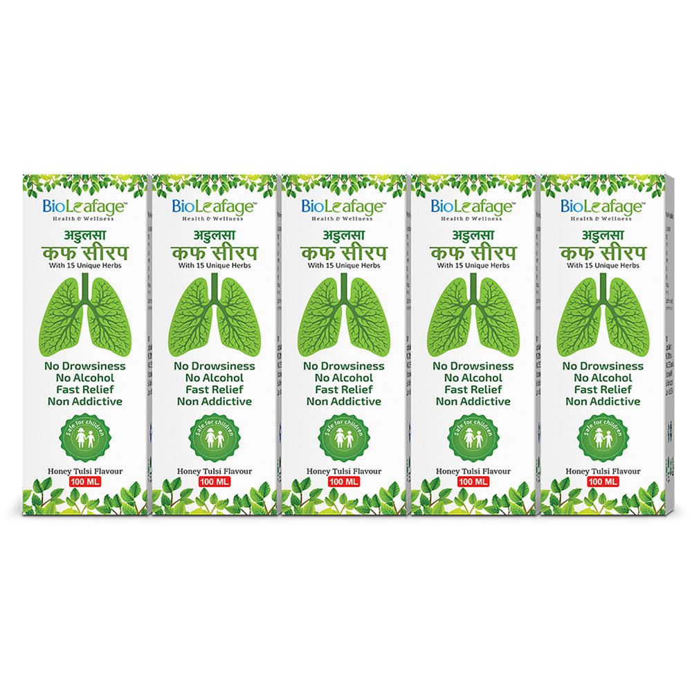 Bioleafage Adulsa Cough Syrup (100ml, Pack of 5)