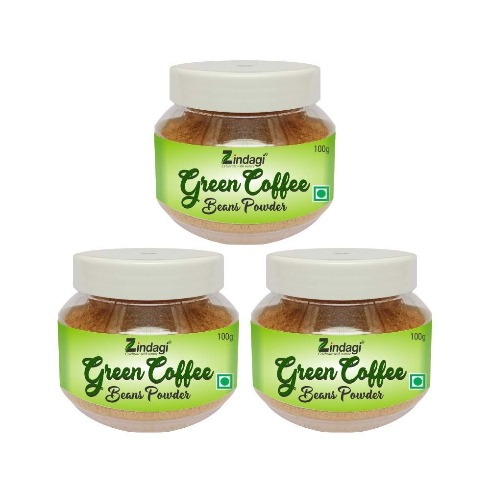 Zindagi Green Coffee Beans Powder – Natural Weight Loss Supplement And Fat Burner - 100% Pure Green Coffee Bean Powder (100g, Pack of 3)
