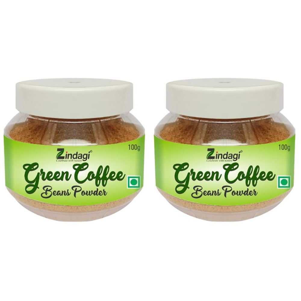 Zindagi Green Coffee Beans Powder – Natural Weight Loss Supplement And Fat Burner - 100% Pure Green Coffee Bean Powder (100g, Pack of 2)