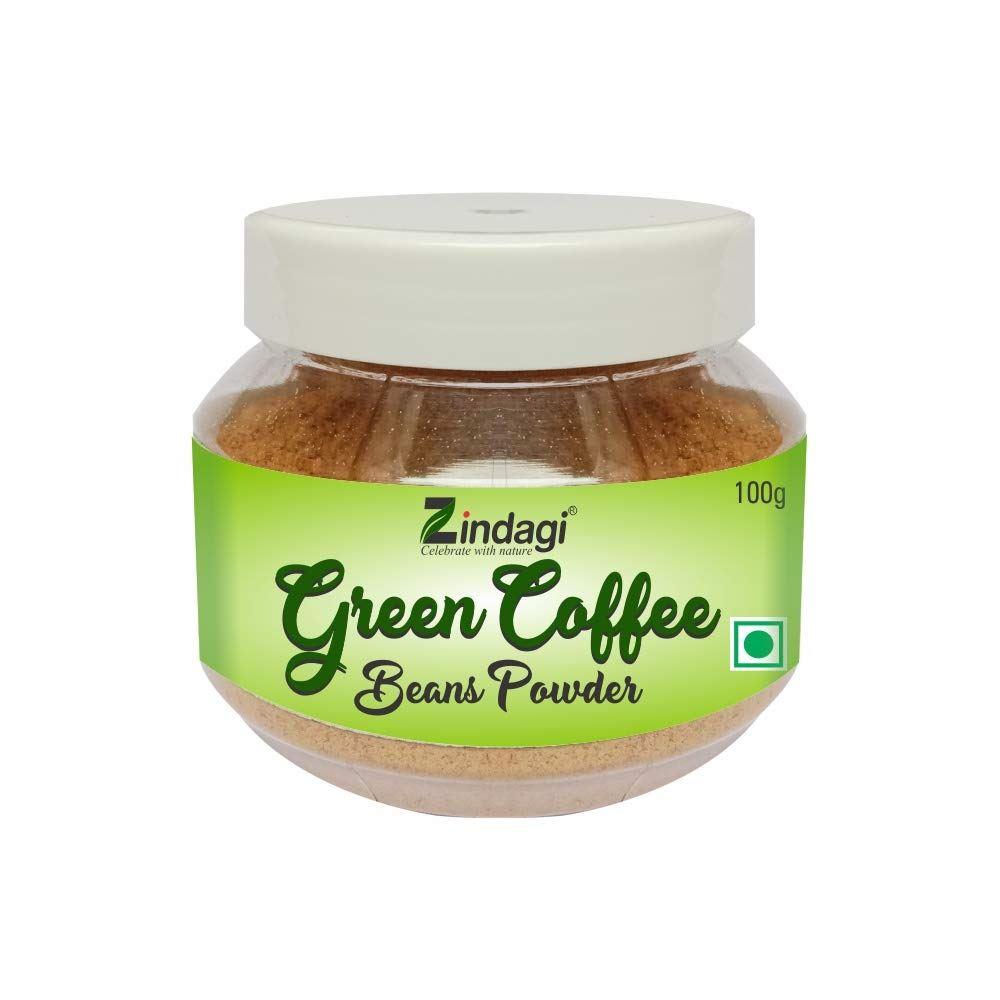 Zindagi Green Coffee Beans Powder – Natural Weight Loss Supplement And Fat Burner - 100% Pure Green Coffee Bean Powder (100g)