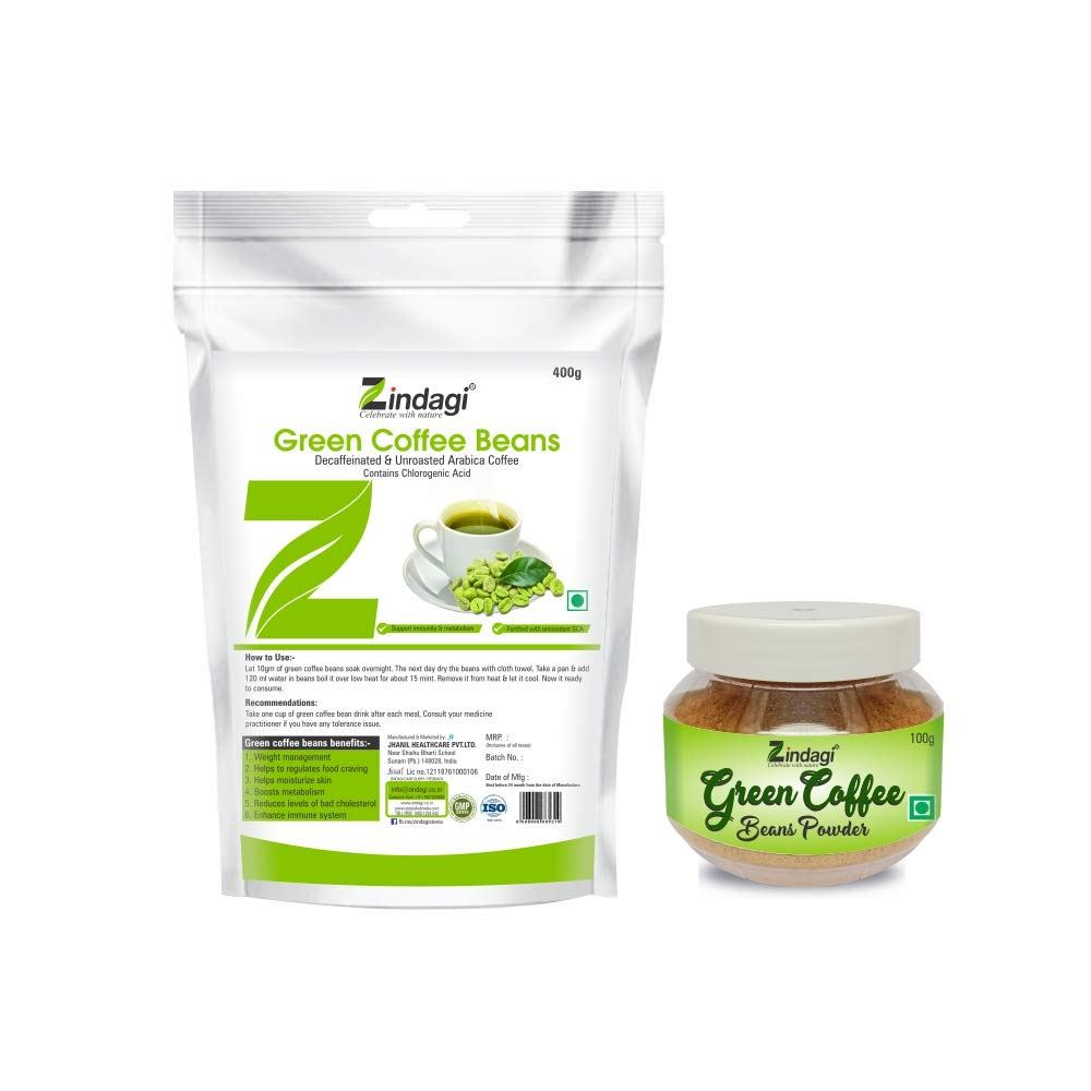 Zindagi Natural Instant Green Coffee Powder Sachets With Green Coffee Beans Powder – Natural Weight Loss Supplement And Fat Burner – (Special Combo Offer) (1Pack)