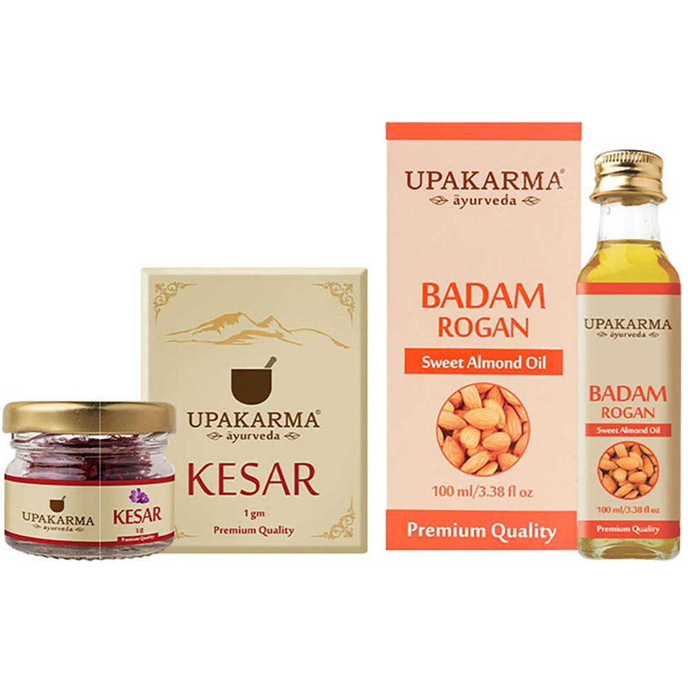 Upakarma Ayurveda Combo Pack Of 1G Kashmiri Kesar & 100Ml Badam Rogan Oil (2pcs)