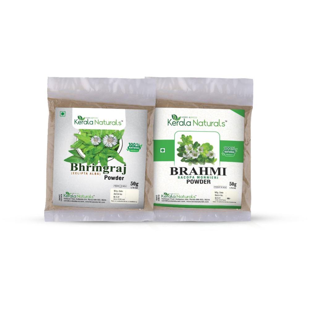 Kerala Naturals Bhringraj Powder +Brahmi Powder (50g, Pack of 2)