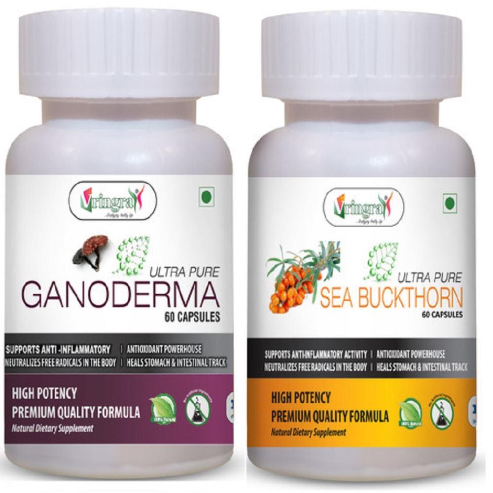 Vringra Ganoderma Capsules & Sea Buckthorn Capsules - Immunity Booster - Health Supplement (1Pack)
