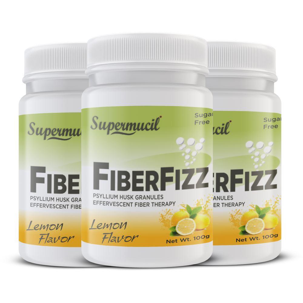 Supermucil Fiber Fizz Psyllium Effervescent Lemon Flavor Sugar Free (100g, Pack of 3)
