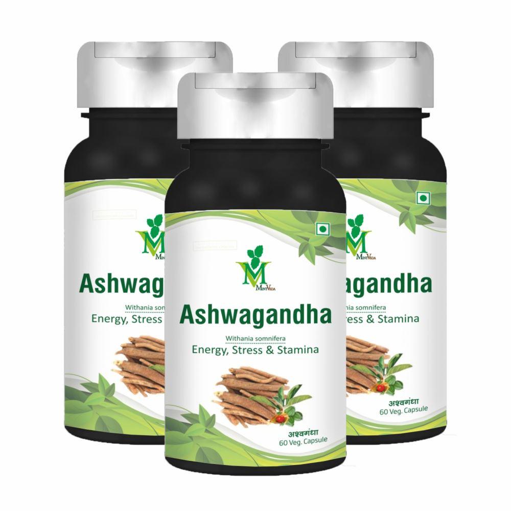 Mint Veda Ashwagandha Veg Capsule (60caps, Pack of 3)
