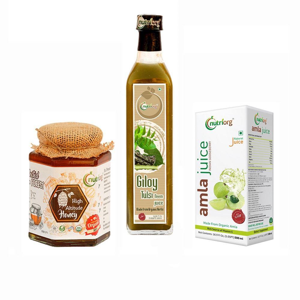 Nutriorg Amla Juice500 Ml, Giloy Neem Tulsi 500 Ml, High Alltitude Honey 250G (1Pack)