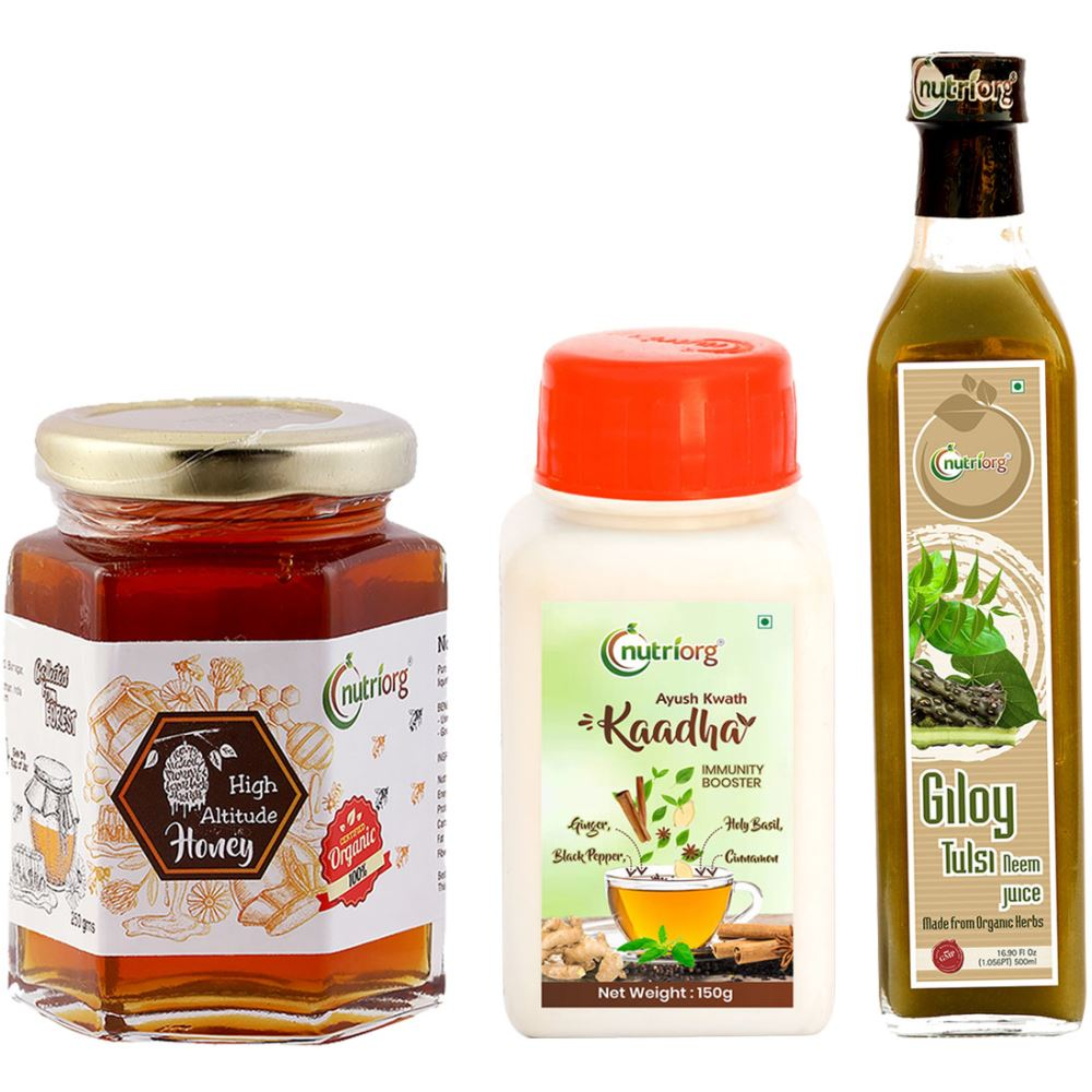 Nutriorg Ayush Kwath Kaadha & Giloy Neem Tulsi With Certified Organic High Altitude Honey Combo Pack (1Pack)