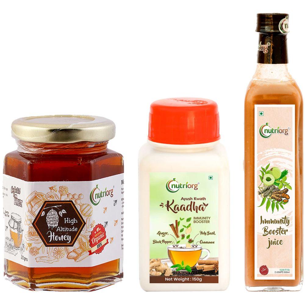 Nutriorg Ayush Kwath Kaadha & Immunity Booster Juice With Certified Organic High Altitude Honey Combo Pack (1Pack)