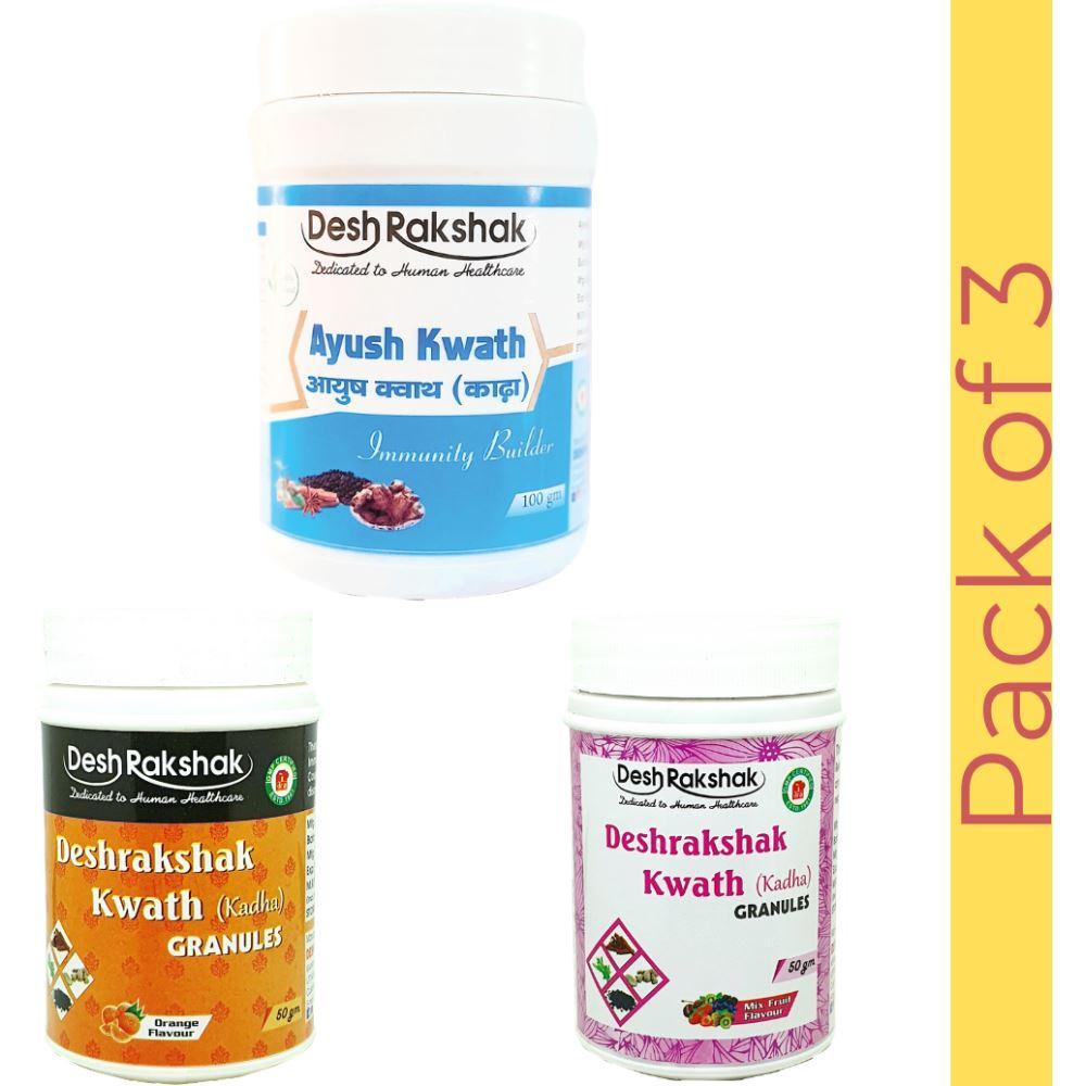 Deshrakshak Ayush Kwath (100 gm) + Deshrakshak Kwath Orange Flavour (50 gm) + Deshrakshak Kwath Mixed Fruit (50 gm) (1Pack)