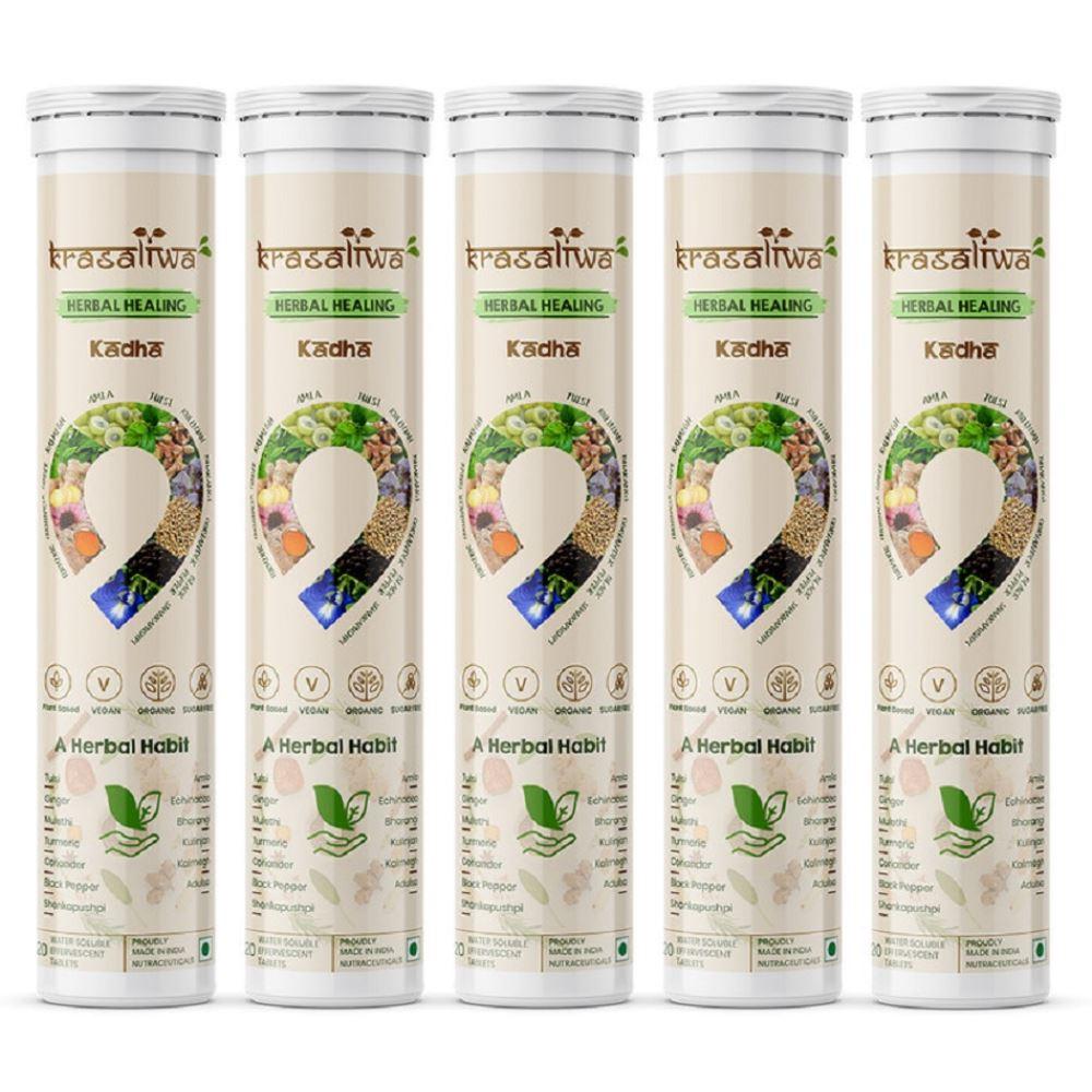 Krasaliwa Herbal Healing Kadha Natural Immunity Support Tablets (20tab, Pack of 5)