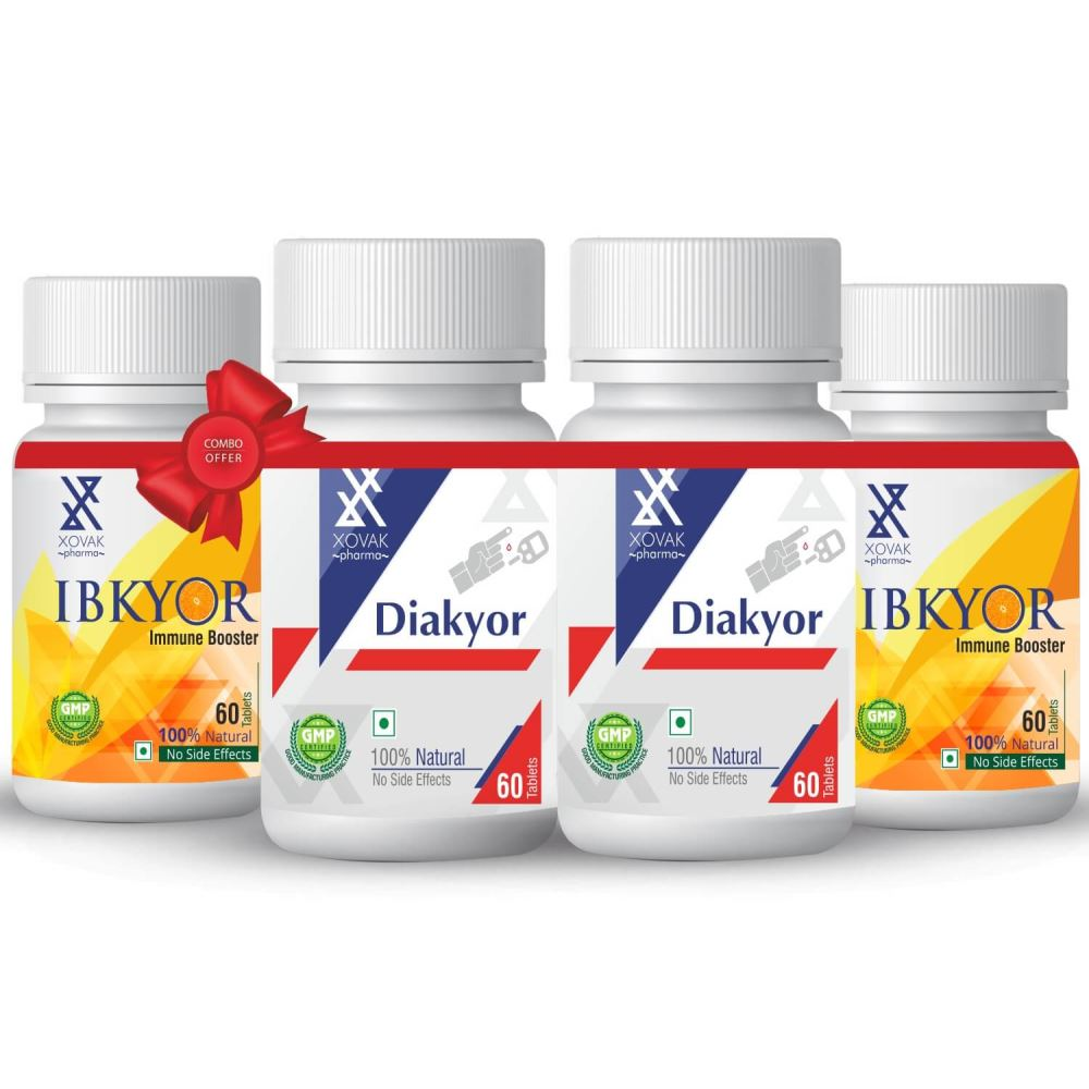 Xovak Pharma Diakyor Tablets (60Tab) + Ibkyor Tablets For Immunity Booster (60Tab) Combo Pack (1Pack, Pack of 2)