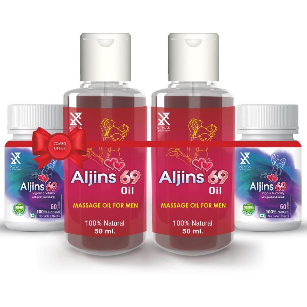 Xovak Pharma Aljins 69 Tablet (60Tab) + Aljins 69 Oil For Enlargement Massage Oil For Men (50Ml) Combo Pack (1Pack, Pack of 2)