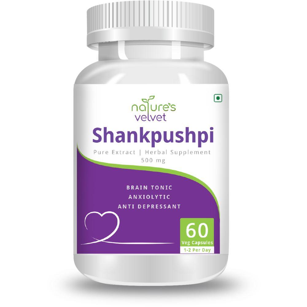 Natures Velvet Shankpushpi Pure Extract 500Mg Veggie Capsules (60caps)