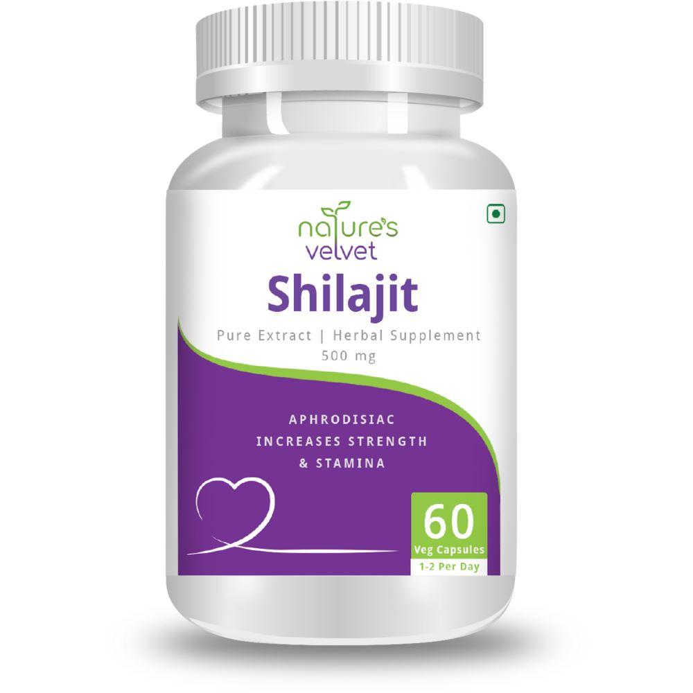 Natures Velvet Shilajit Pure Extract 500Mg Veggie Capsules (60caps)