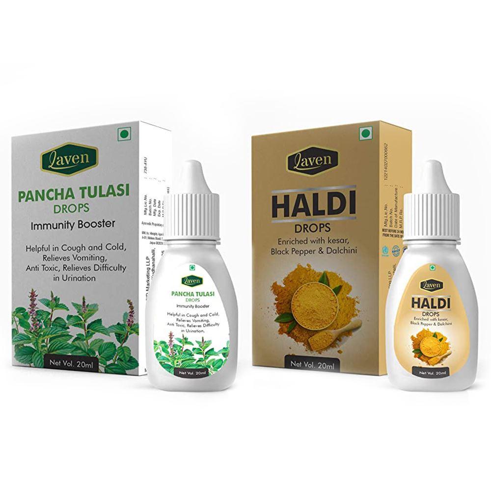 Laven Pancha Tulasi Drops Immunity Booster & Haldi Drops (1Pack)