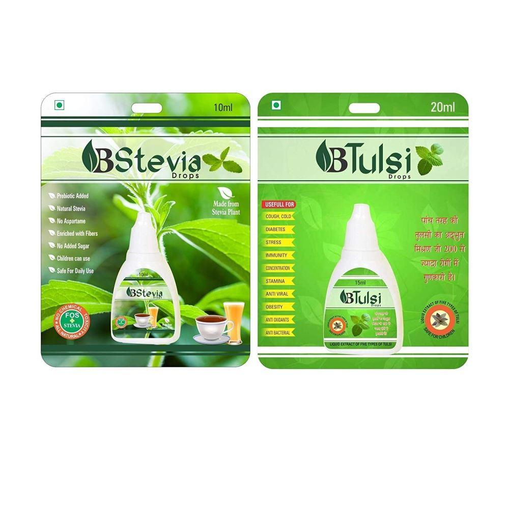 Livebasil Livebasil Stevia Liquid & Tulsi Drops - Sugarfree Stevia Drops - Panch Tulsi Ras Combo (1Pack)