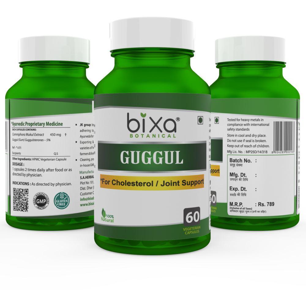 Bixa Botanical Guggul Extract Veg Capsules (450Mg) 2.5% Guggulsterones (60caps)