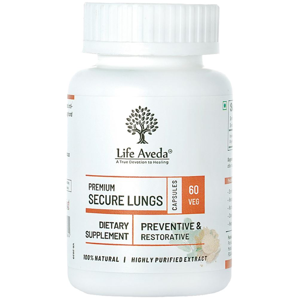 Life Aveda Premium Secure Lungs (500Mg) Veg Capsules (60caps)