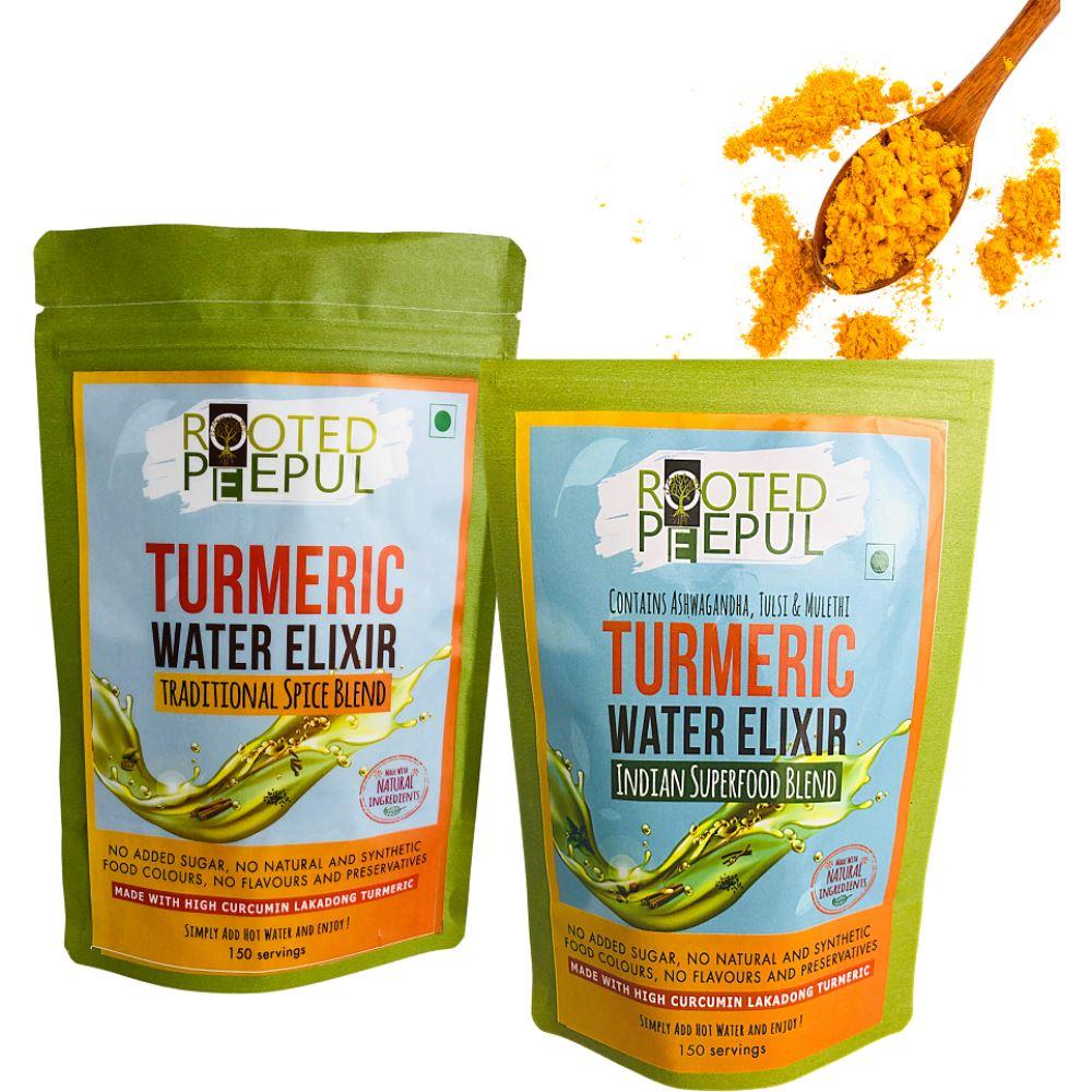 Rooted Peepul Spice Blend & Superfood Blend Turmeric Water Elixir Kadha Combo (150g, Pack of 2)