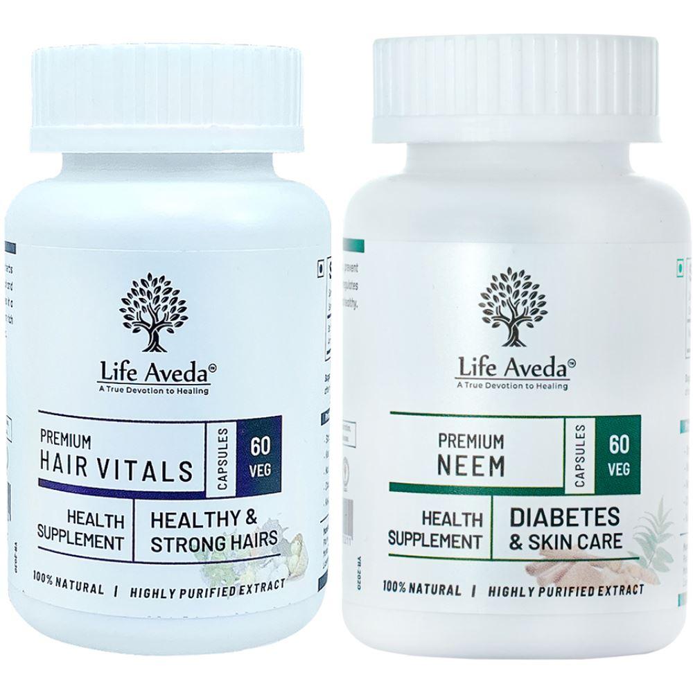 Life Aveda Hair Vitals & Neem Capsule Combo (1Pack)