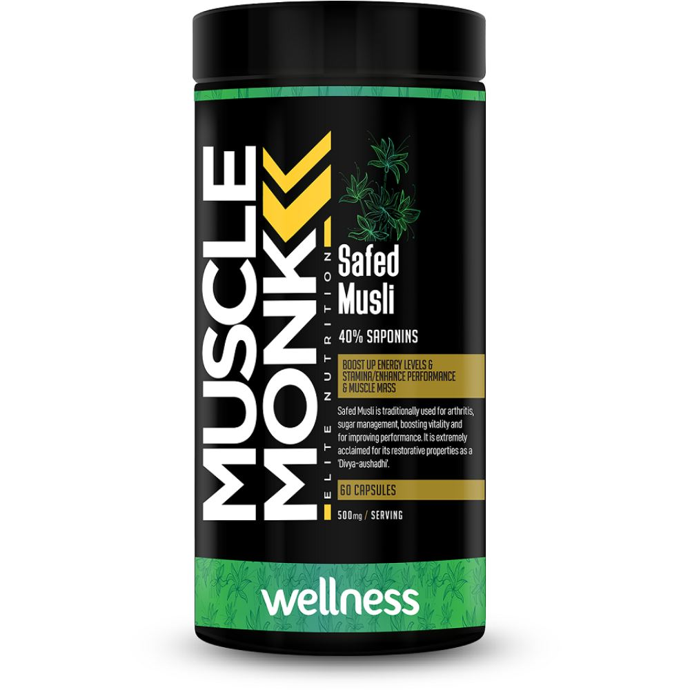 Muscle Monk Safed Musli 500Mg Capsules (60caps)