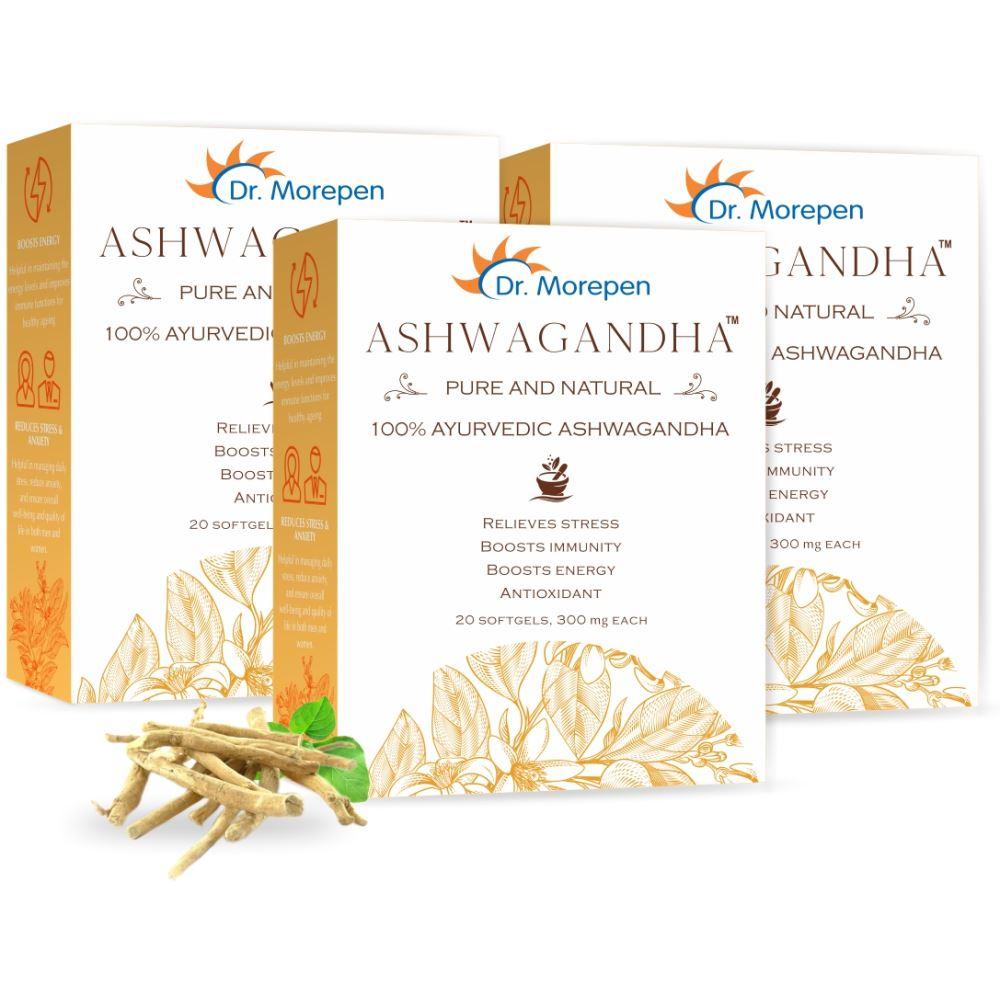 Dr. Morepen Natural & Pure Ashwagandha Capsules (20caps, Pack of 3)