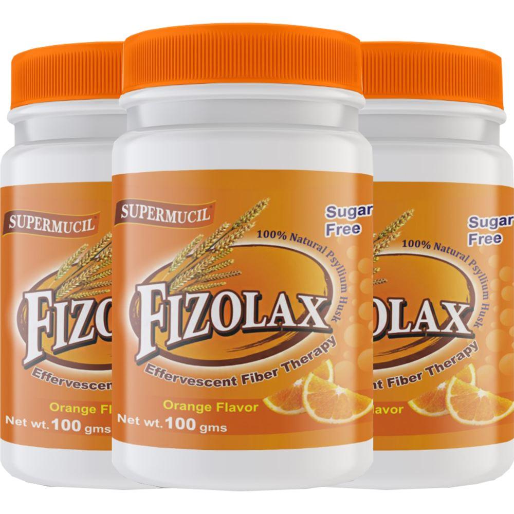 Supermucil Fizolax Psyllium Powder Sugar Free Orange Flavor (100g, Pack of 3)