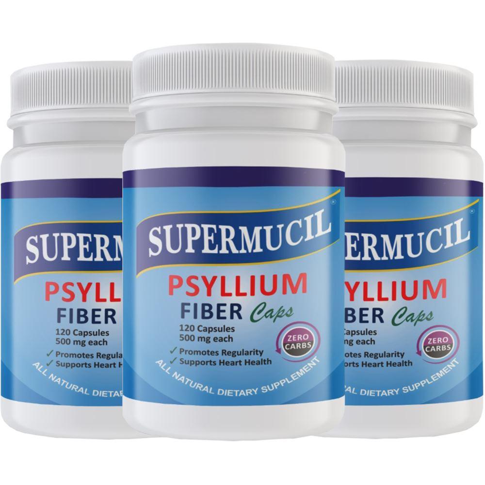 Supermucil Psyllium Fiber Capsules (120caps, Pack of 3)