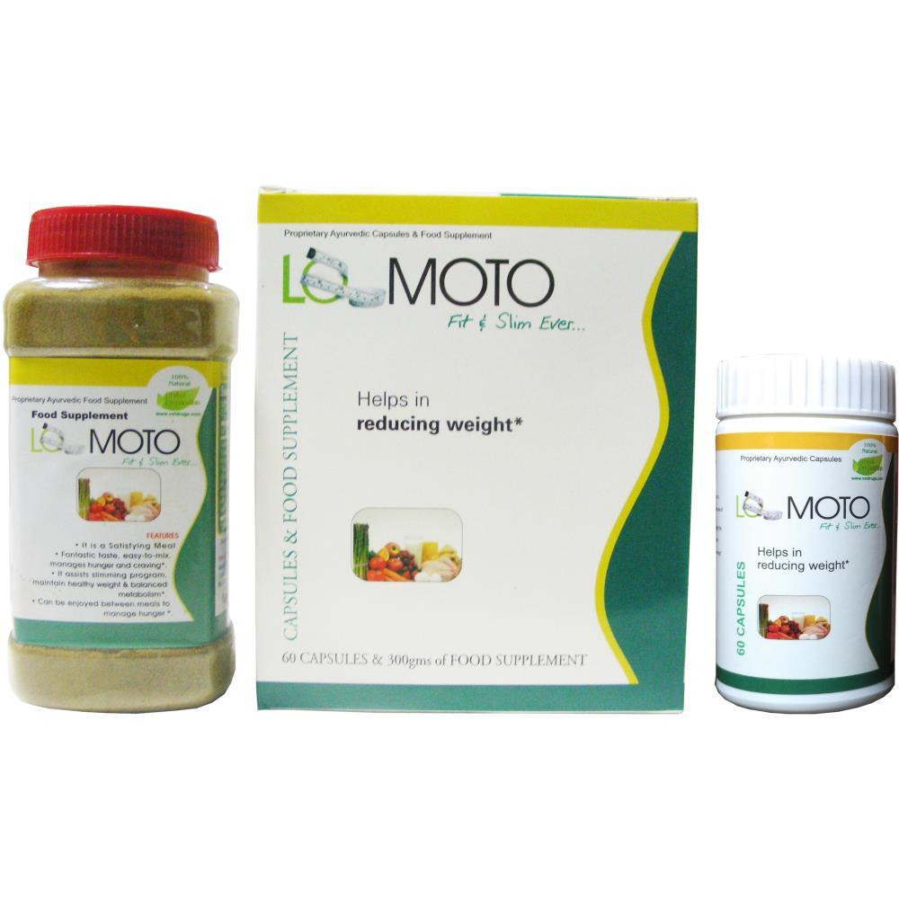 VXL Ayurvedic Lo Moto Weight Loss 60 Capsules & 300g Food Supplement (1Pack)