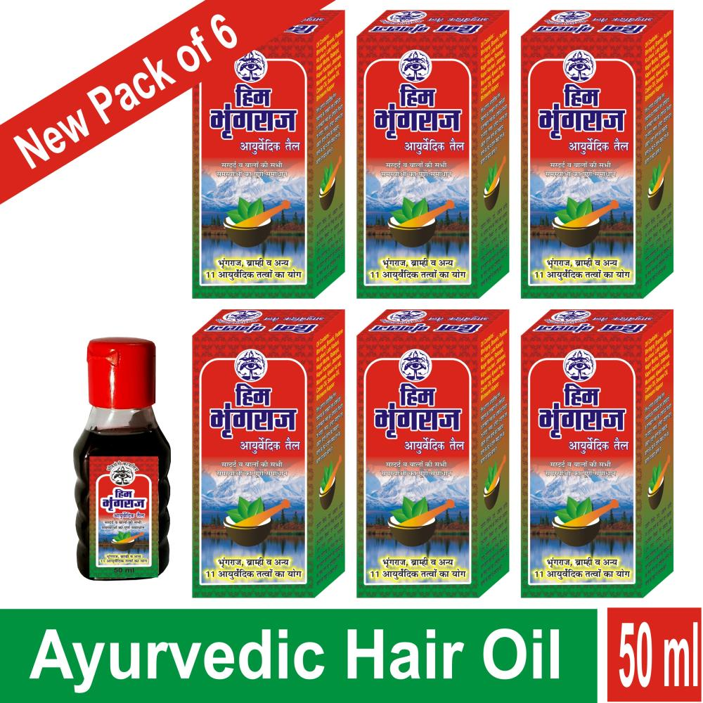 Bhimseni Him Bhringraj Ayurvedic Hair Oil (50ml, Pack of 6)