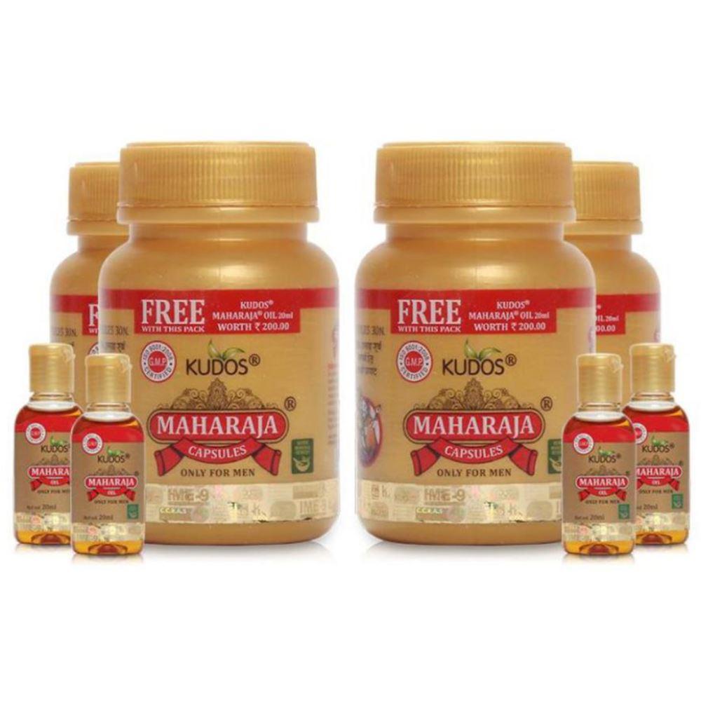 Kudos Maharaja Capsules & Maharaja Oil Free Capsule (30caps, Pack of 4)