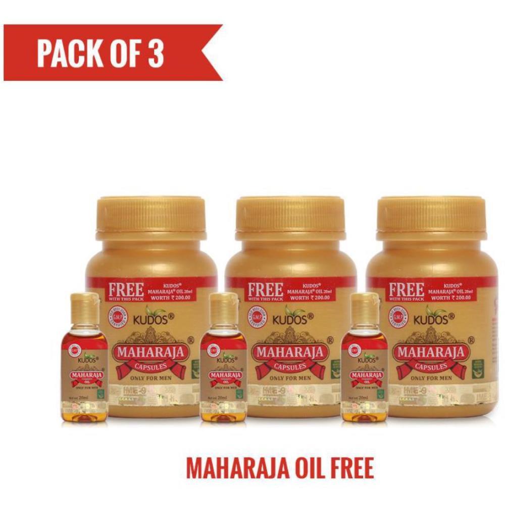 Kudos Maharaja Capsules & Maharaja Oil Free Capsule (30caps, Pack of 3)