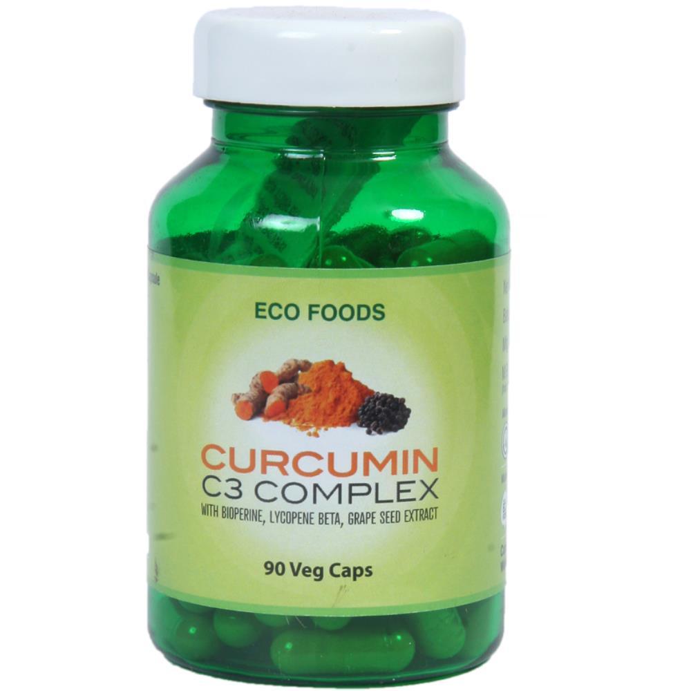 Eco Foods Curcumin C3 With Bioperine, Lycopene Beta & Grape Seed Extract Capsules (90caps)