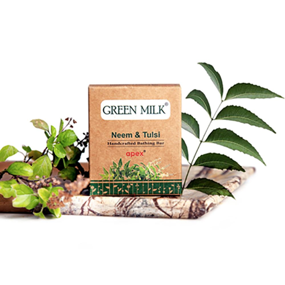 Green Milk Handcrafted Bathing Bar (Neem & Tulsi) Soap (100g)