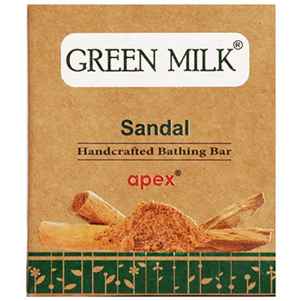 Green Milk Handcrafted Bathing Bar (Sandal) Soap (100g)