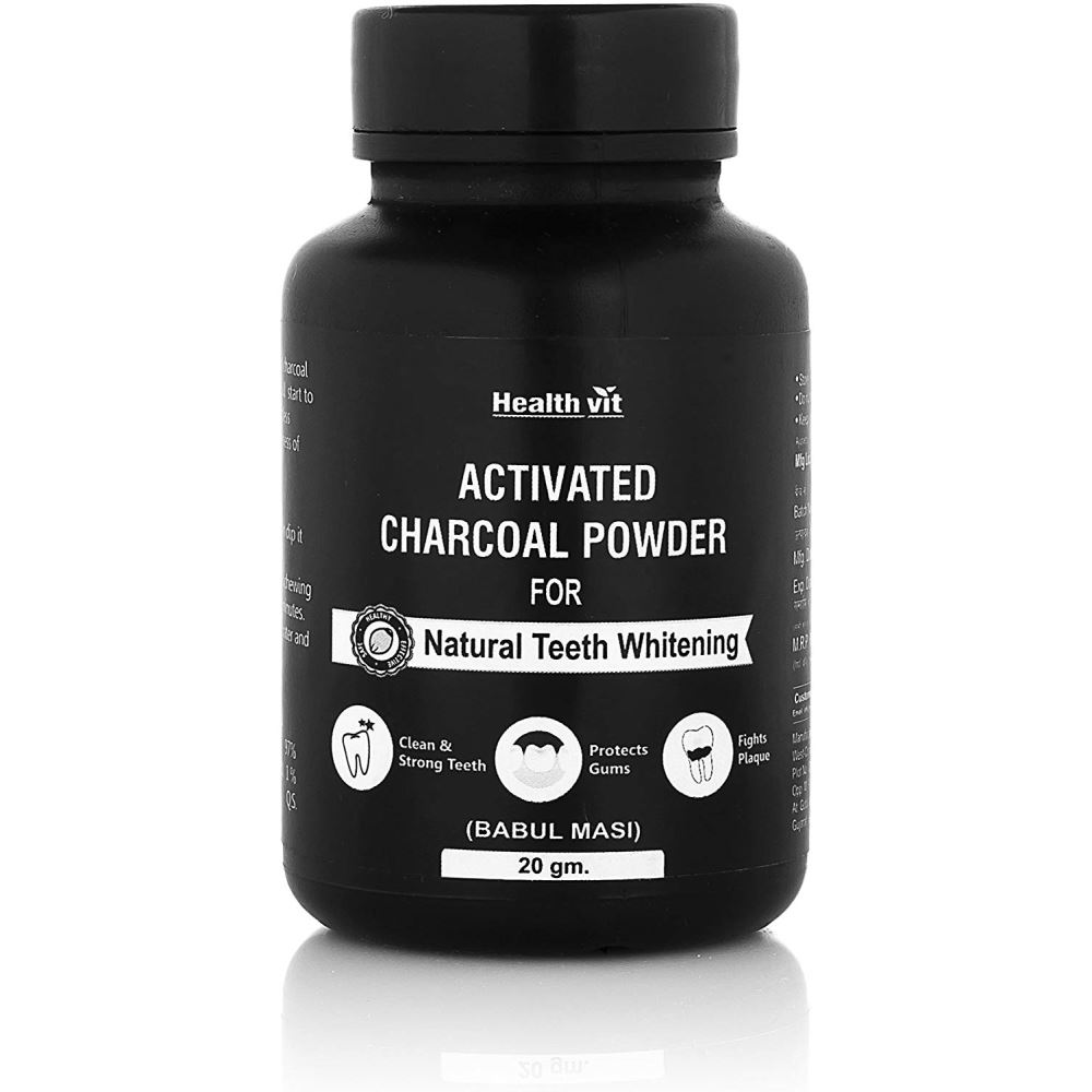Healthvit Activated Charcoal Powder For Natural Teeth Whitening (20g)