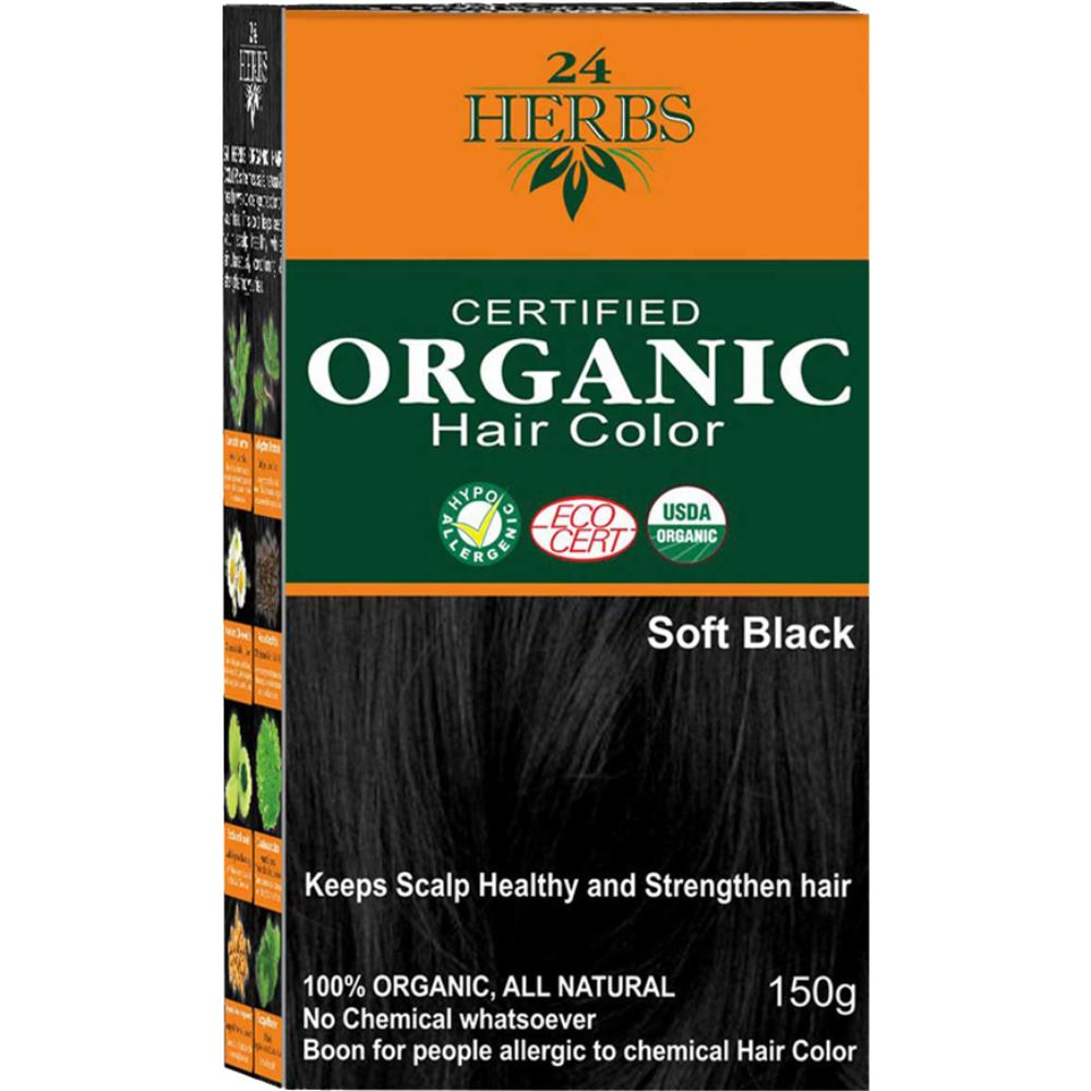 Indus valley 24 Herbs Certified Organic Hair Color - Soft Black (150g)