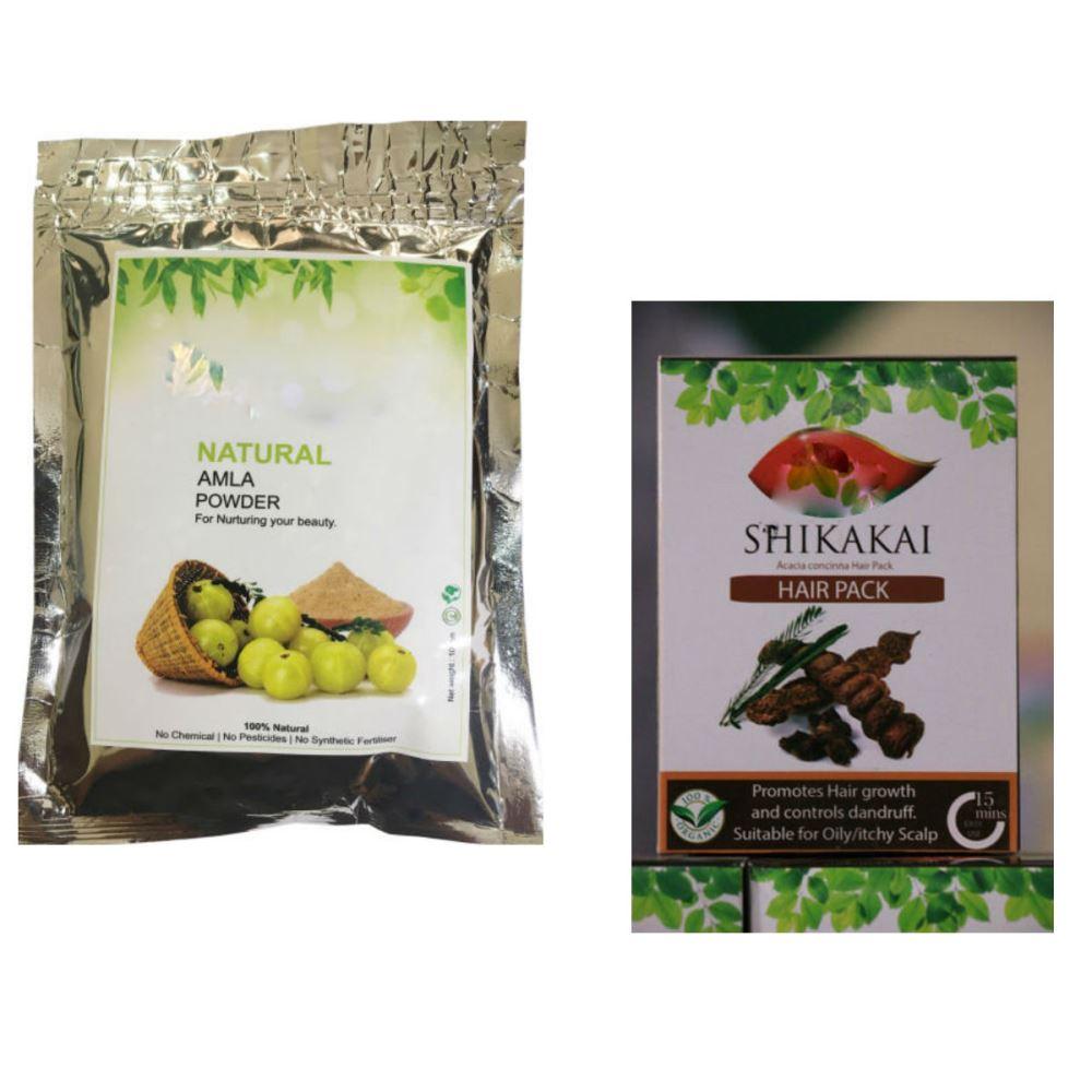 Indirang Amla Powder(100G) & Shikakai Powder(100G) Combo Pack (1Pack)