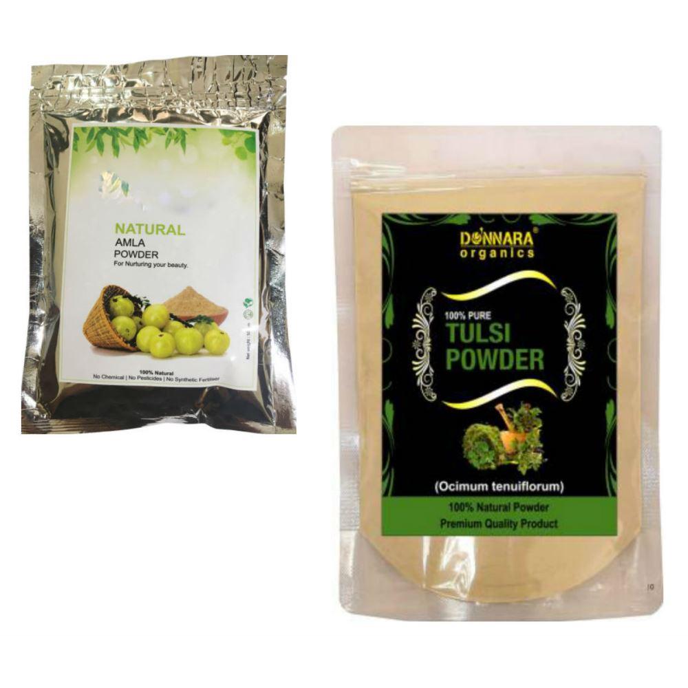 Indirang Amla Powder(100G) & Tulsi Powder(100G) Combo Pack (1Pack)