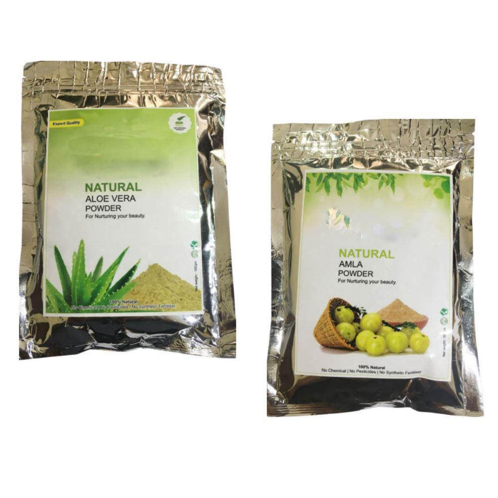 Indirang Aloe Vera Powder(100G) & Amla Powder (100G) Combo Pack (1Pack)