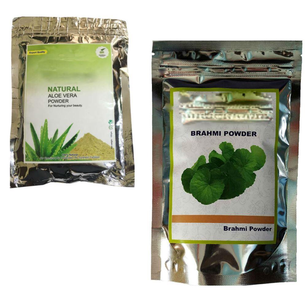 Indirang Aloe Vera Powder(100G) & Brahmi Powder(100G) Combo Pack (1Pack)