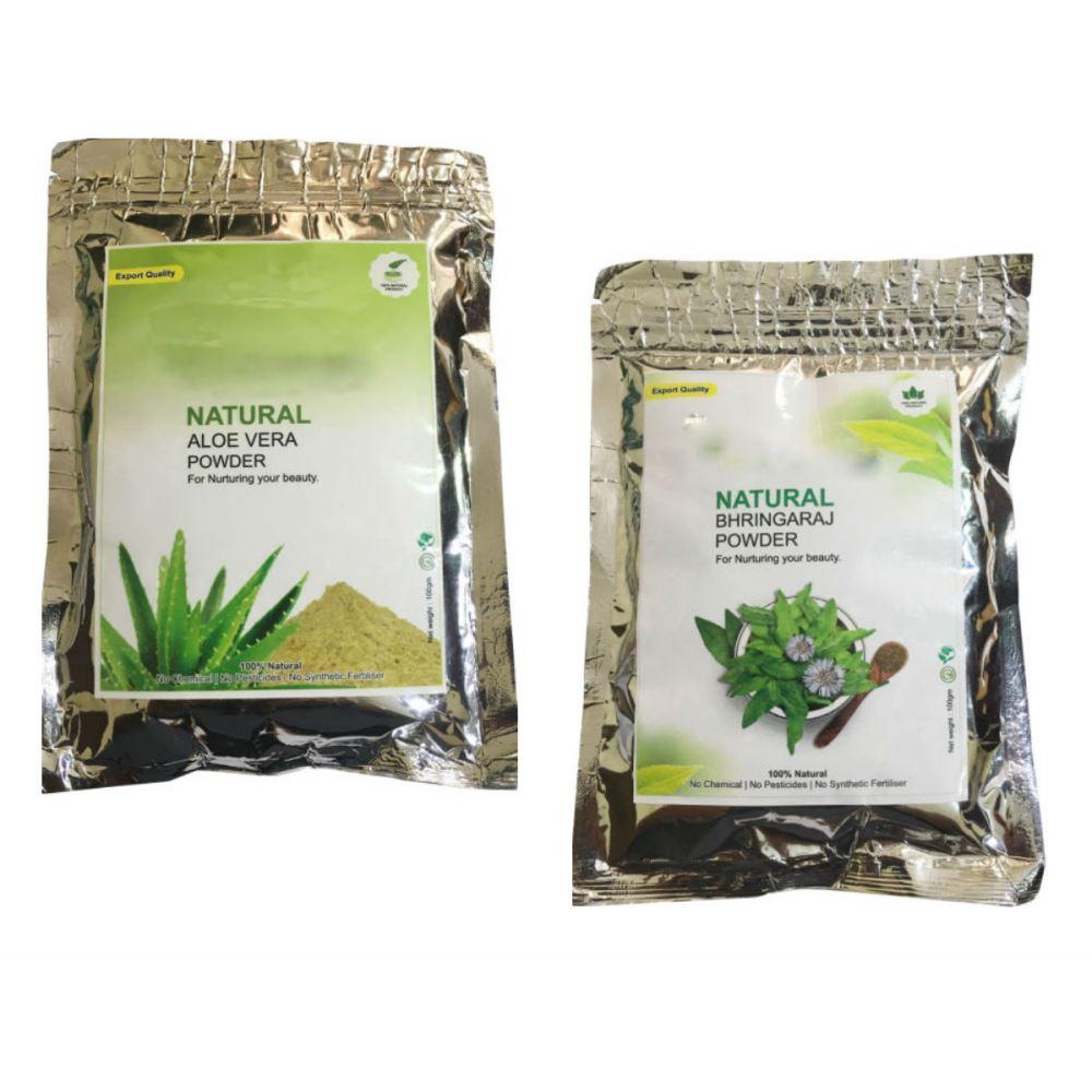 Indirang Aloe Vera Powder(100G) & Bhringraj Powder(100G) Combo Pack (1Pack)