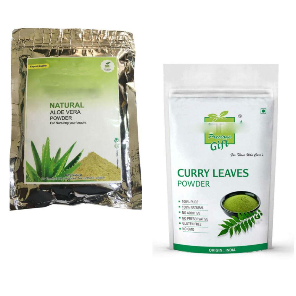 Indirang Aloe Vera Powder(100G) & Curry Leaf Powder(100G) Combo Pack (1Pack)