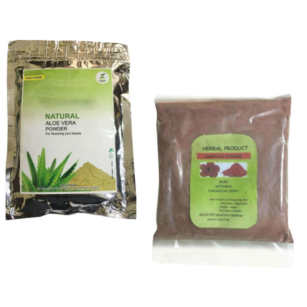 Indirang Aloe Vera Powder(100G) & Hibiscus Powder(100G) Combo Pack (1Pack)