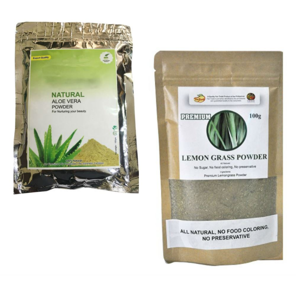 Indirang Aloe Vera Powder(100G) & Lemongrass Powder(100G) Combo Pack (1Pack)