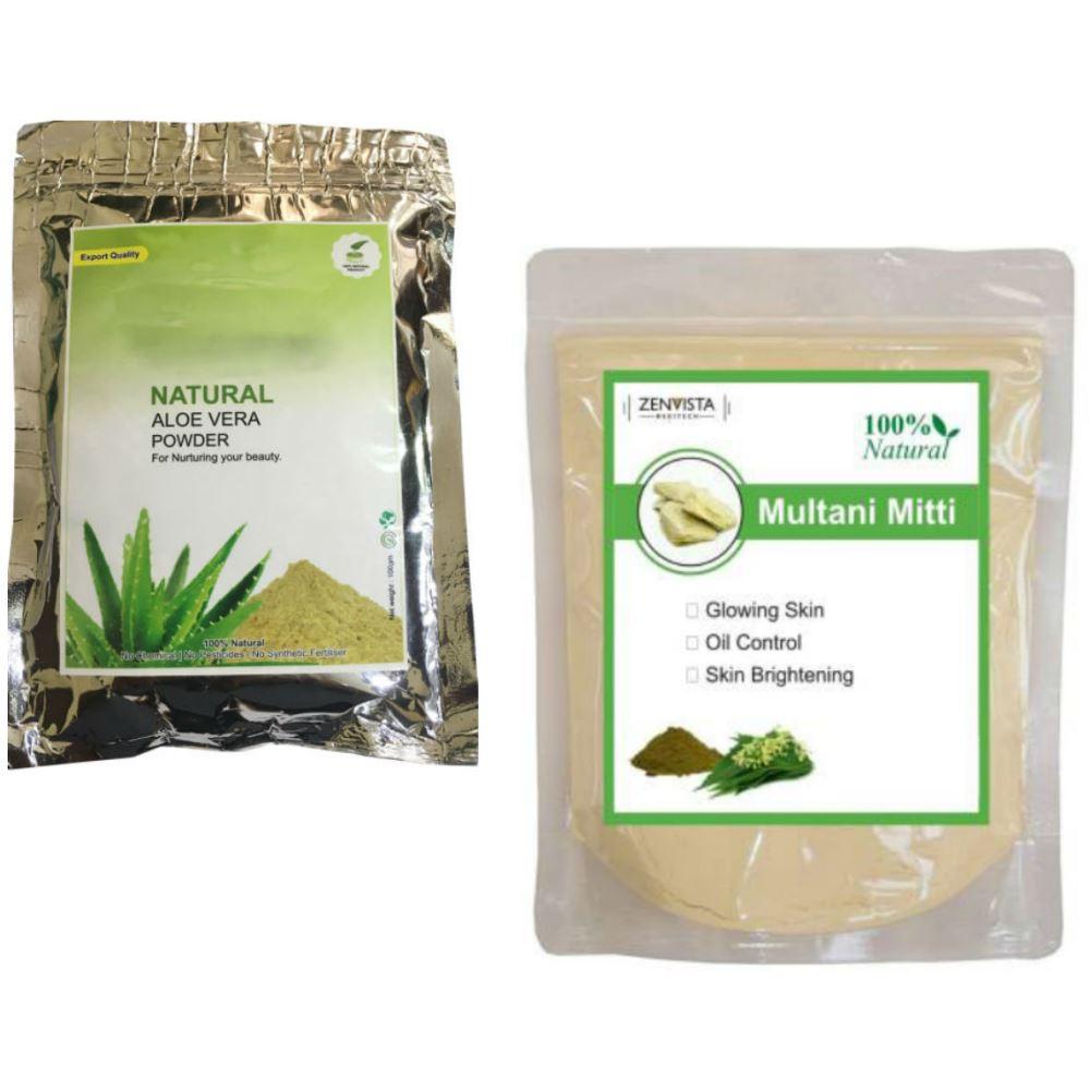 Indirang Aloe Vera Powder(100G) & Multani Mitti Powder(100G) Combo Pack (1Pack)