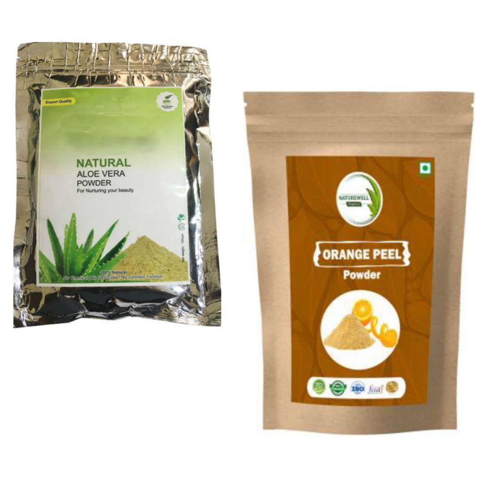 Indirang Aloe Vera Powder(100G) & Orange Powder(100G) Combo Pack (1Pack)